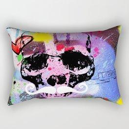 SKULL WHITE MUSTACH Rectangular Pillow