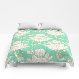 stylish golden and mint floral strokes design Comforters