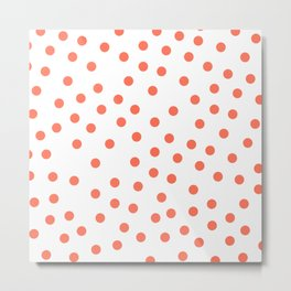 Simply Dots in Deep Coral on White Metal Print