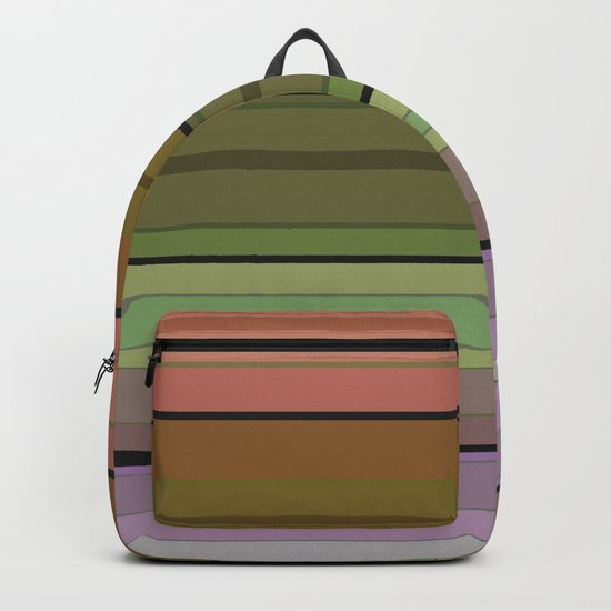Multi-colored striped pattern . 3 Backpack