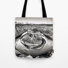 Horseshoe Bend Arizona Black and White Tote Bag