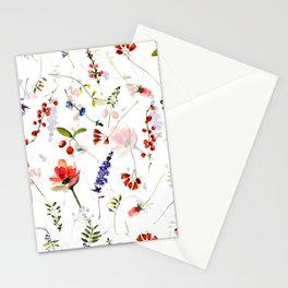 Scandinavian Midsummer Botanical Wildflowers Meadow Stationery Cards