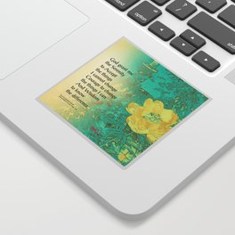 Serenity Prayer Peony Yellow Turquoise Sticker