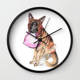 German Shepherd love , cute GSD dog watercolor with heart Wall Clock