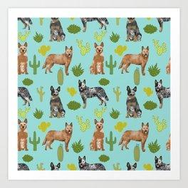 Australian Cattle Dog cactus pet friendly dog breed dog pattern art Art Print