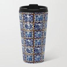 Blue Willow Tiles Metal Travel Mug