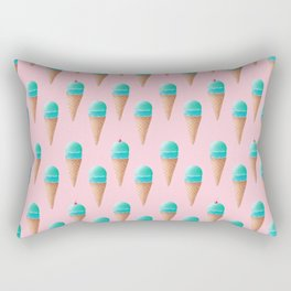 Blue & Pink Ice Cream Cone Pattern Rectangular Pillow