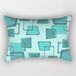 Skewed Squares Midcentury Pattern Turquoise Rectangular Pillow