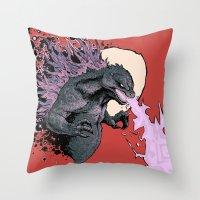 2001 Throw Pillows featuring Godzilla 2001 by Leonardo LAGONZA Gonzalez