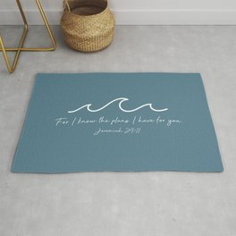 Jeremiah 29:11 Waves, White Rug