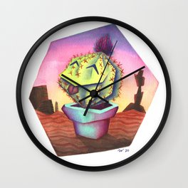 Silly Cactus Wall Clock
