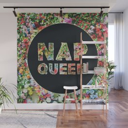 Nap Queen in Floral Flowers Wall Mural
