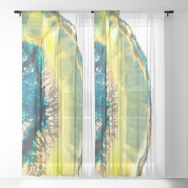 Blue and Yellow Agate Sheer Curtain