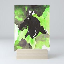 Diving Orca - Light Green Mini Art Print