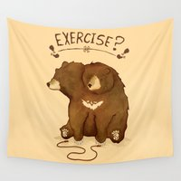 fitness Wall Tapestries featuring Fitness Bear by Devon Baker by UCO Design