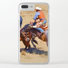 The Saddle Bronc and the Pickup Man - Rodeo Art Clear iPhone Case