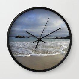 Sea foam on Reflective Sand Wall Clock