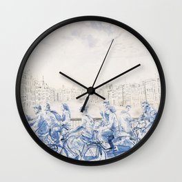 Amsterdam cyclists Wall Clock