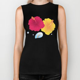 Hibiscus and Rainbow reflected in a Drop of water_YR Biker Tank