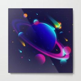 Synthwave Space: Saturn Metal Print