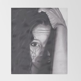 Realism Charcoal Drawing of Woman from Honduras Throw Blanket