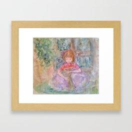 Girl in Garden Framed Art Print