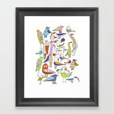 Birds. bird, pattern, animals, kids, art, design, illustration, Framed Art Print