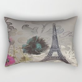 elegant poppy flowers damask vintage paris Eiffel Tower botanical art Rectangular Pillow