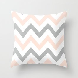 PEACH & GRAY CHEVRON Throw Pillow