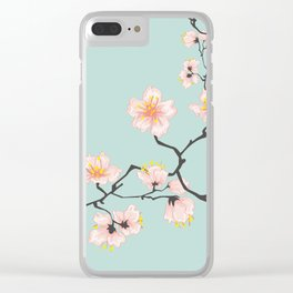 Sakura Cherry Blossoms x Mint Green Clear iPhone Case