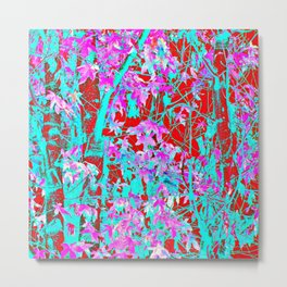 pink maple tree leaf with blue and red abstract background Metal Print