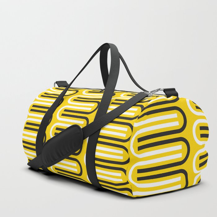 Geometric Pattern 235 (yellow curves) Duffle Bag