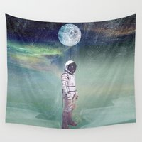 balloon Wall Tapestries featuring Moon Balloon by Vin Zzep