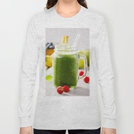 Close-up of green fresh smoothie with fruits, berries, oats and seeds, selective focus. Long Sleeve T-shirt