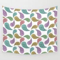 paisley Wall Tapestries featuring Paisley Party by Alice Gosling