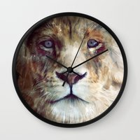 kim sy ok Wall Clocks featuring Lion // Majesty by Amy Hamilton
