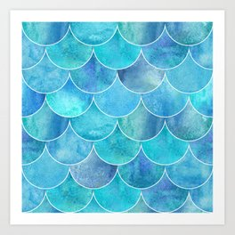 Turquoise Blue Watercolor Mermaid Art Print