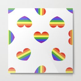 Rainbow flag LGBT symbol on heart vector seamless pattern background Metal Print