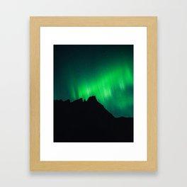 Northern Lights above Sleeping Beasts Framed Art Print