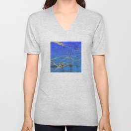 Sky Blue Marble With 24-Karat Gold Nugget Veins Unisex V-Neck