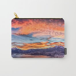 Sunset Pano // Beautiful Rocky Mountain Lake View Colorado Red Orange Sky Carry-All Pouch