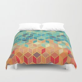 Colorful Squares with Gold - Friendly Colors and Marble Texture Duvet Cover