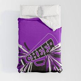 Purple, Black and White Cheerleader Design Duvet Cover