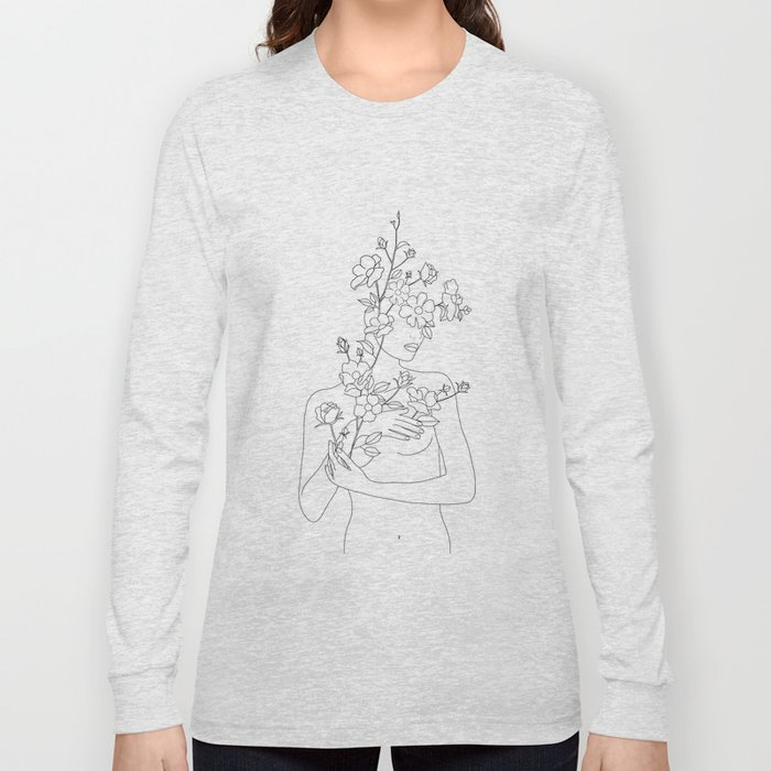 Minimal Line Art Woman with Wild Roses Long Sleeve T-shirt