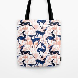Deco Gazelles Garden // white background navy animals and rose metal textured decorative elements Tote Bag