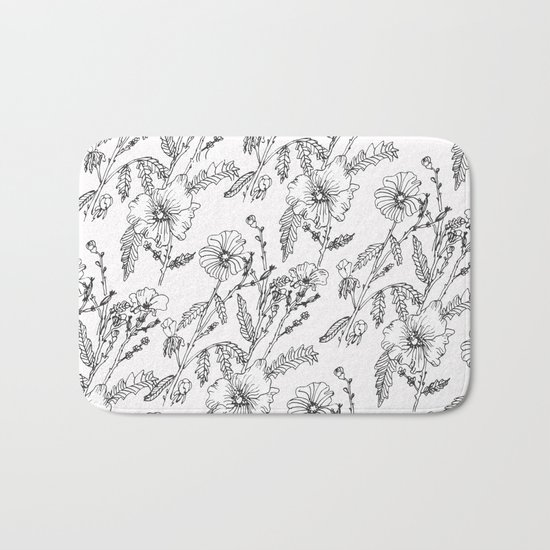 Black-White Flower Pattern Bath Mat