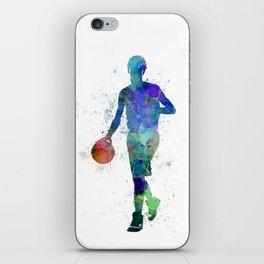 young man basketball player dribbling  iPhone Skin
