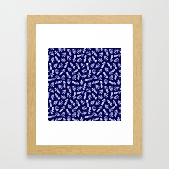 Inky Blue Cacti and Succulents Framed Art Print