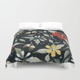 Southwest Style Oval Floral Gouache Painting Duvet Cover