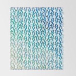Handpainted Herringbone Chevron pattern - small - teal watercolor on white Throw Blanket